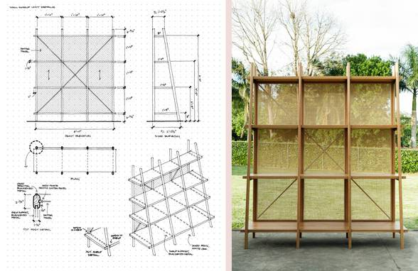 Custom Oak and Rattan Bookshelf and Sketches - Architect: Neumann & Rudy