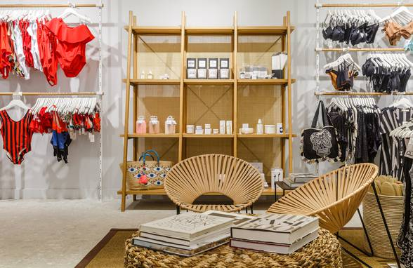 Custom Oak and Rattan Bookshelf - Architect: Neumann & Rudy