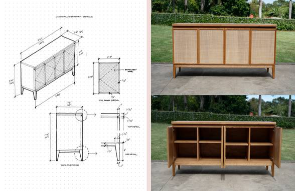 Custom Oak and Rattan Credenza - Architect: Neumann & Rudy