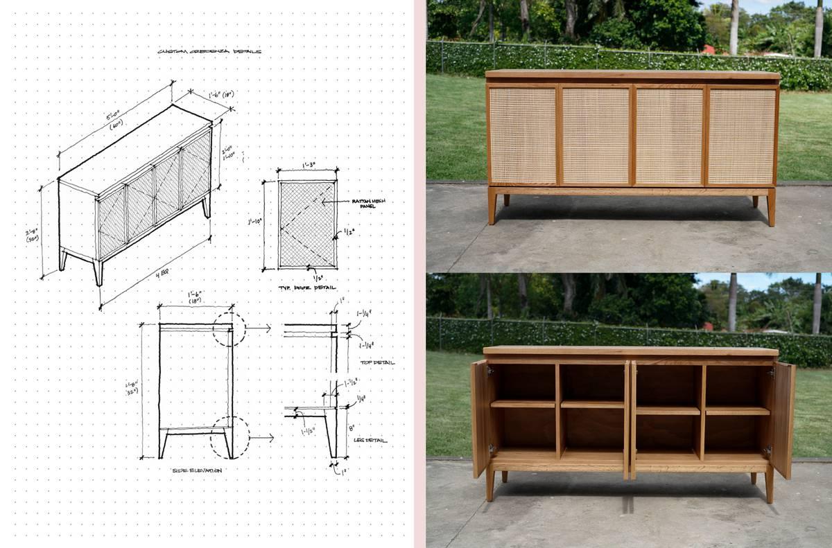 Custom Oak and Rattan Credenza - Architect: Neumann & Rudy