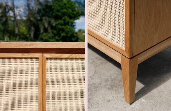 Custom Oak and Rattan Credenza Detail - Architect: Neumann & Rudy