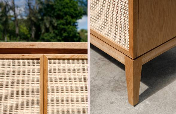 Custom Oak and Rattan Credenza Detail - Architect: Neumann & Rudy