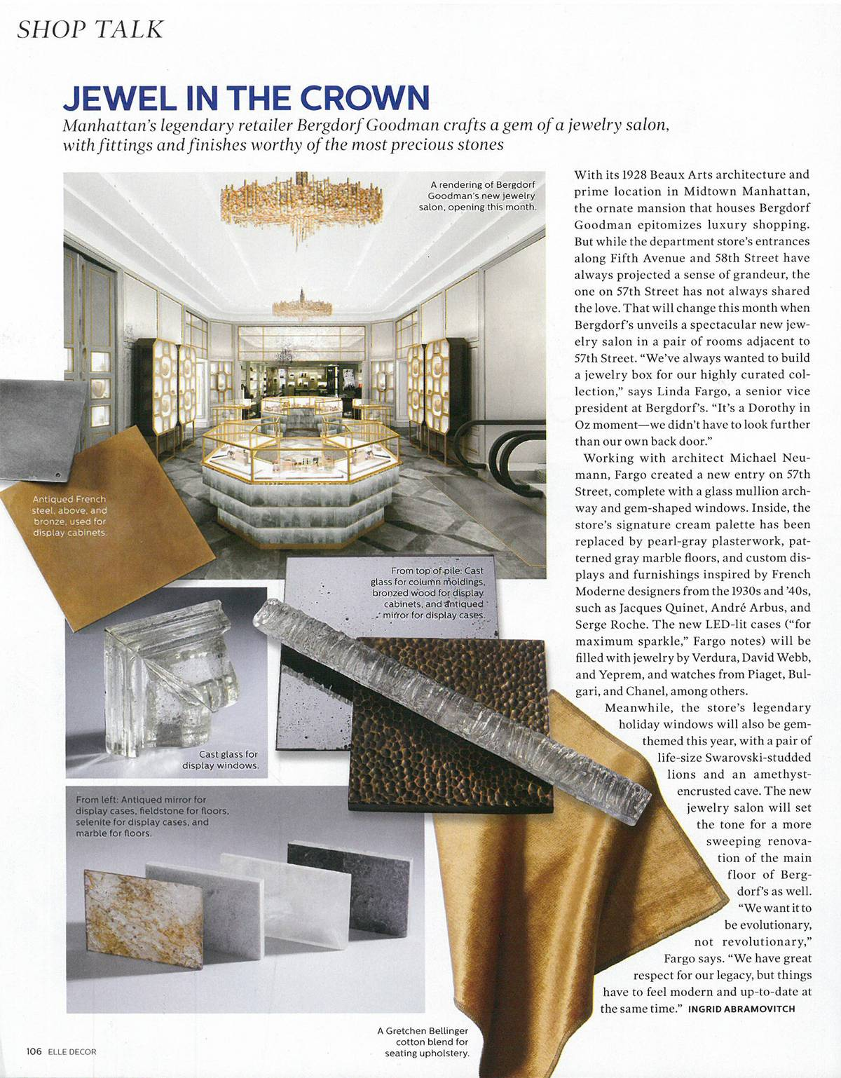 Bergdorf Goodman Jewelry Salon in Elle Decor - Architect: Neumann & Rudy