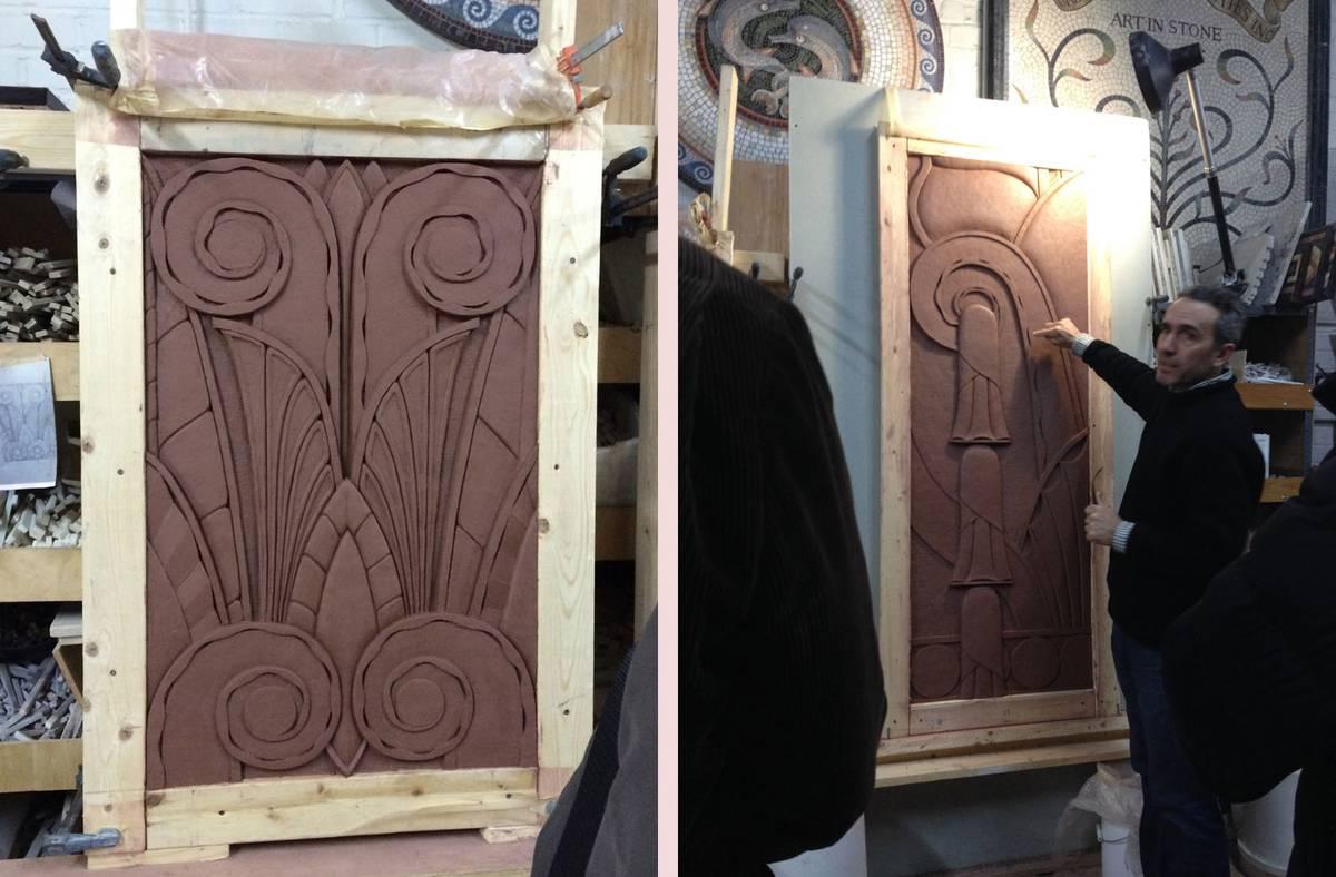 Hand Carved Decorative Artisan Stonework, Clay Model - Architect: Neumann & Rudy