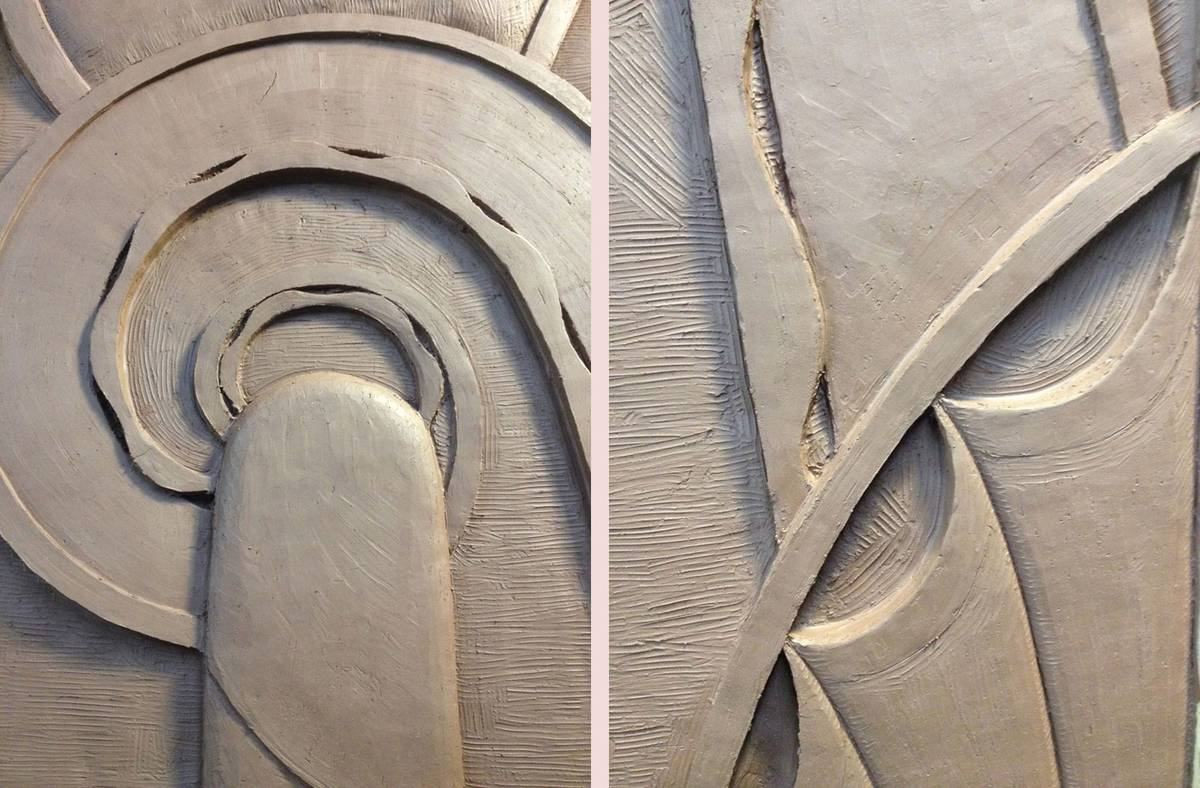 Hand Carved Decorative Artisan Stonework, Clay Model Detail - Architect: Neumann & Rudy