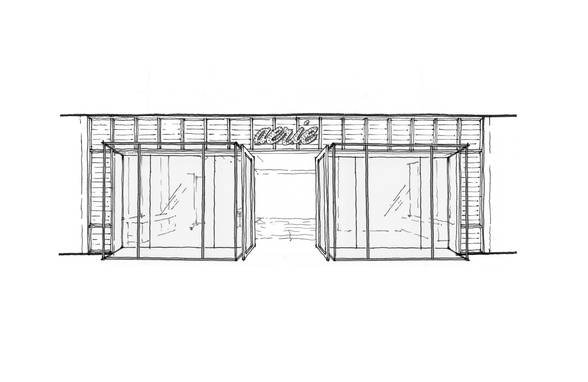 Aerie Concept Design - Sheer Storefront Sketch - Architect: Neumann & Rudy