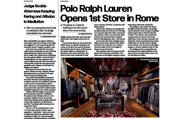 Ralph Lauren Rome Featured in WWD - Architect: Neumann & Rudy