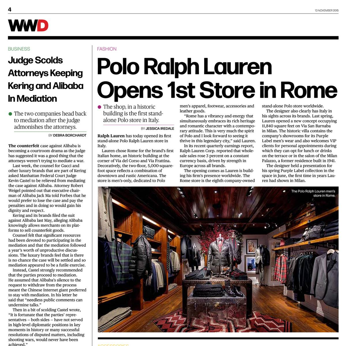 Ralph Lauren Rome Featured in WWD - Architect: Neumann & Rudy