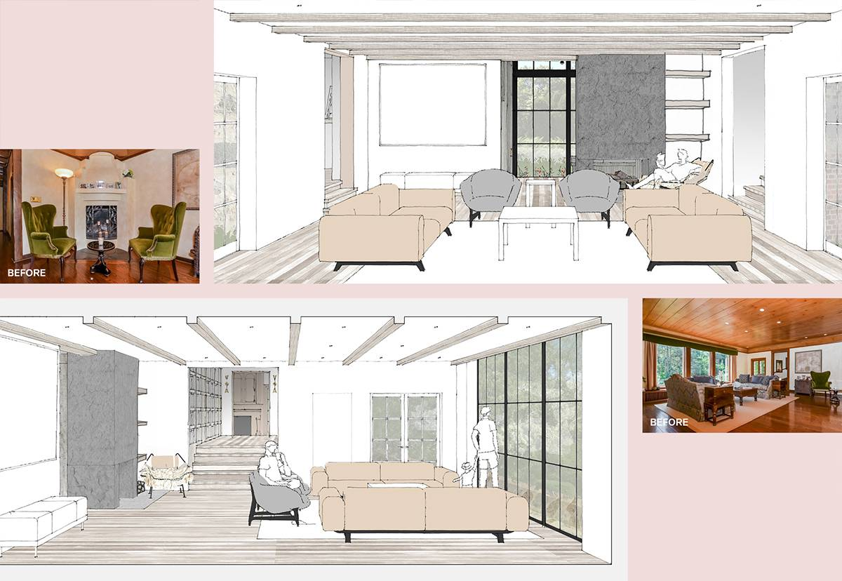 Living Room Before and After: Sterling Ridge - Architect: Neumann & Rudy