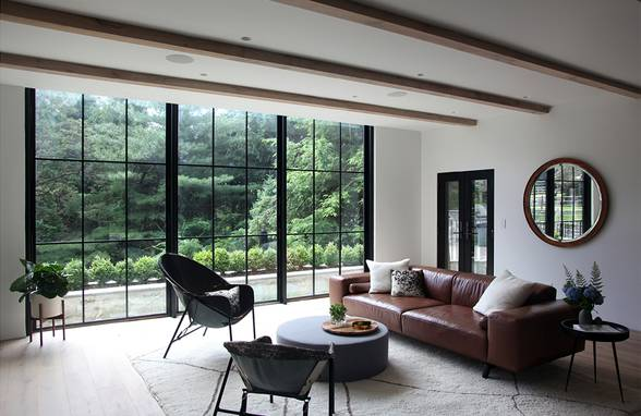 Living Room Steel and Glass Wall: Sterling Ridge - Architect: Neumann & Rudy