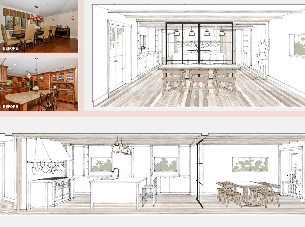 Kitchen and Dining Room Before and After: Sterling Ridge - Architect: Neumann & Rudy