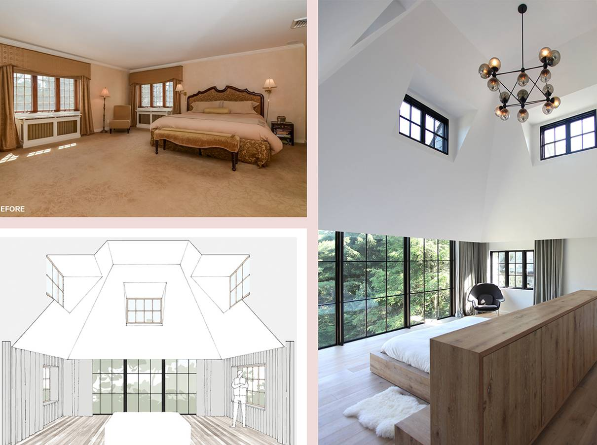 Master Bedroom Before and After, Cathedral Ceiling: Sterling Ridge - Architect: Neumann & Rudy
