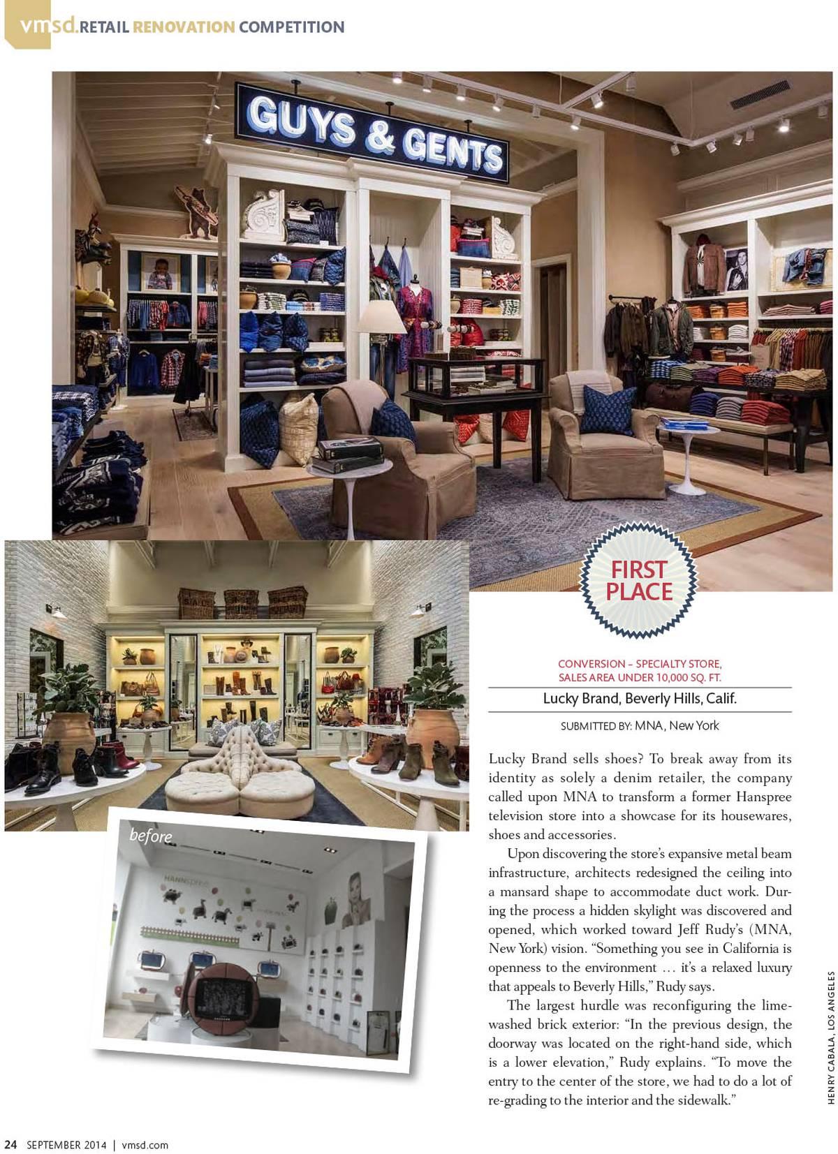 VMSD Retail Renovation Award Winner - Lucky Brand, Beverly Hills, CA - Architect: Neumann & Rudy