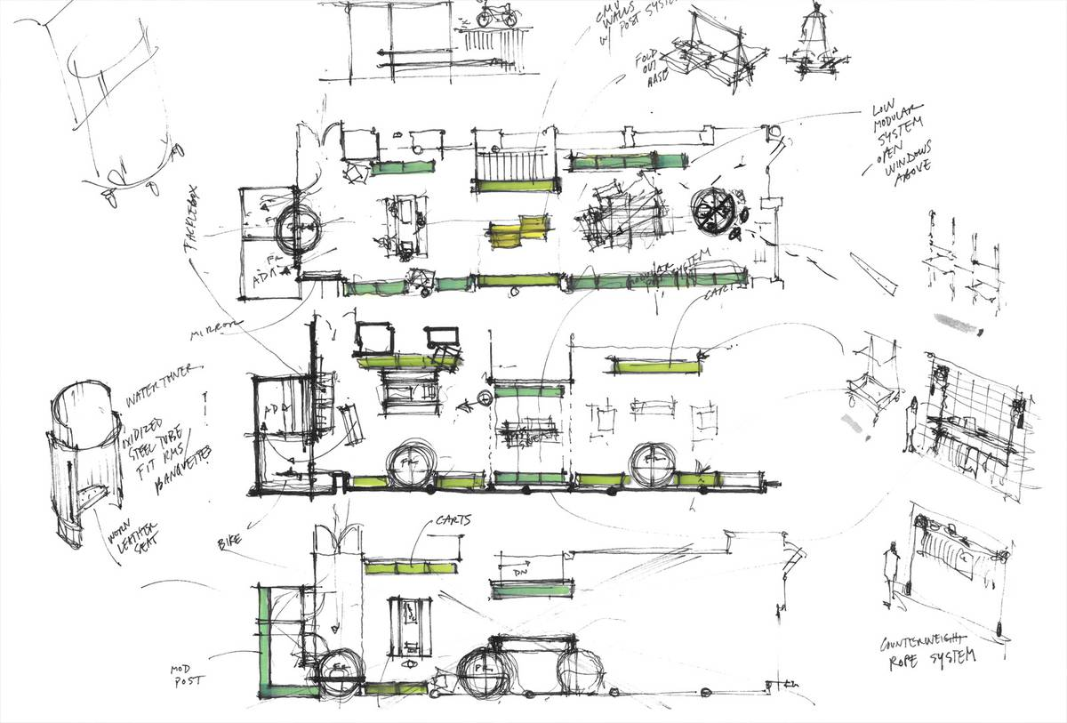 Lululemon's First Ever Mens Store Sketches - Architect: Neumann & Rudy